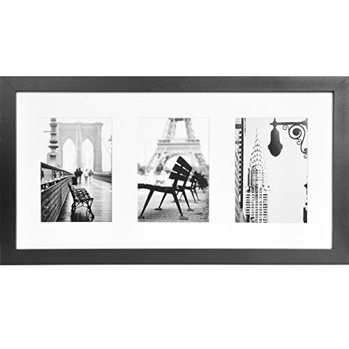 Muzilife Cadre Photos pour 3 Photos avec Passe-partout 13x18cm - Galerie Murale de Cadre Photos Collages 25x51cm (Noir)