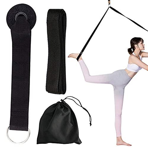 Cinturino per Esercizi, Long Adjustable Leg Stretcher Yoga Strap llunga Le Gambe Attrezzatura per l'allungamento Taekwondo Ginnastica Danza ideale per casa o palestra Foot stretch (nero)