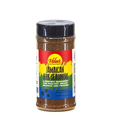 Helen's Tropical-Exotics Jerk Seasoning - 12 Ounce Shaker - Ultimate BBQ Caribbean Jamaican Jerk Seasoning Dry Rub for Chicken, Meats, Seafood and Vegetables - Made in the USA