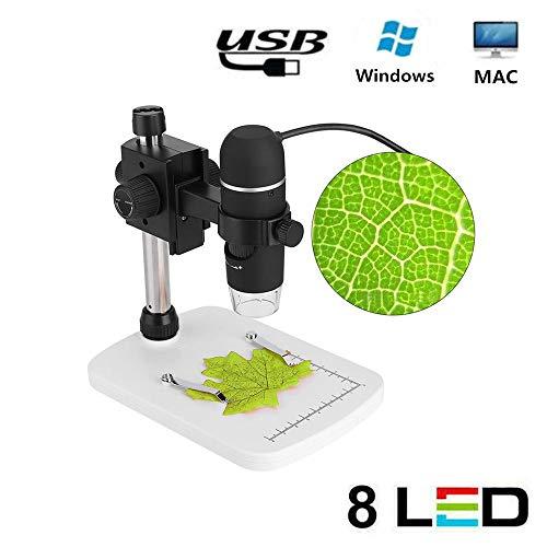 Microscopi digitali USB, Microscopio USB professionale da 5 MP ad alta definizione per perito, studenti, Illuminazione regolabile a 8 LED, Ingrandimento 300x, Supporto per la funzione di misurazione