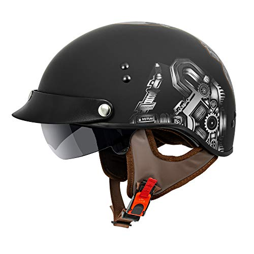 VCAN Cruiser Solid Flat Black Half Face Motorcycle Helmet with Drop-Down Sun Visor, Removable Peak and Quick Release Buckle (Red Skull, Large)