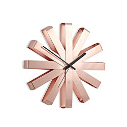 Crazy ogdre Stainless Steel Ribbon Wall Clock/Decorative Creative Personality Circular Wall Clock (Color : Rose Gold, Size : 30cm)