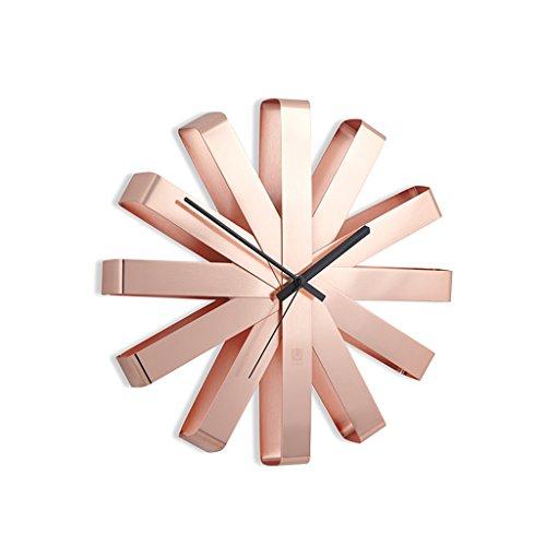 XHY Horloge murale de ruban d'acier inoxydable / Horloge murale circulaire décorative de personnalité créatrice ( Couleur : Or rose , taille : 30cm )