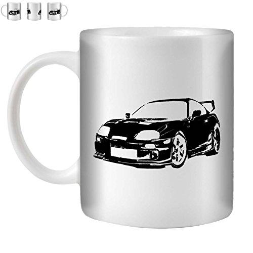Stuff4 Tee/Kaffee Becher 350ml/Schwarz/Toyota Supra/Weißkeramik/ST10