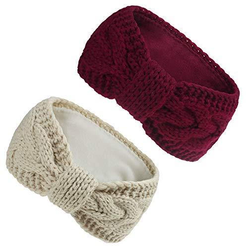 COUXILY 2 Stück Mädchen Stirnbänder Winter Ohrenwärmer Stirnband gefüttert mit weichem Fleece Innenfutter Damen Stirnband gestricktes Haarband (C04)