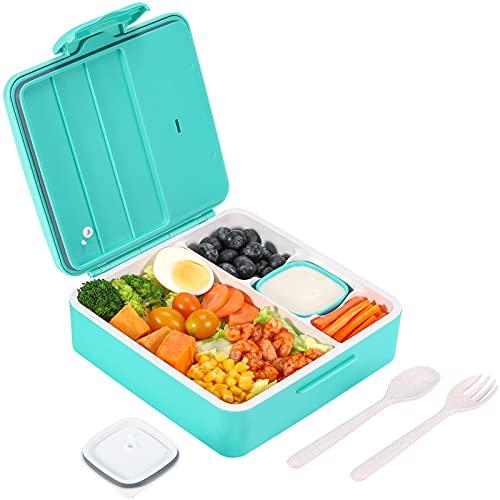 Bento Box, VOLUEX 1300 ML Bento Lunch Box mit 4 Fächern Auslaufsichere Brotdose für Kinder und Erwachsene, inkl. Besteck & 90ML Joghurtglas, Blau
