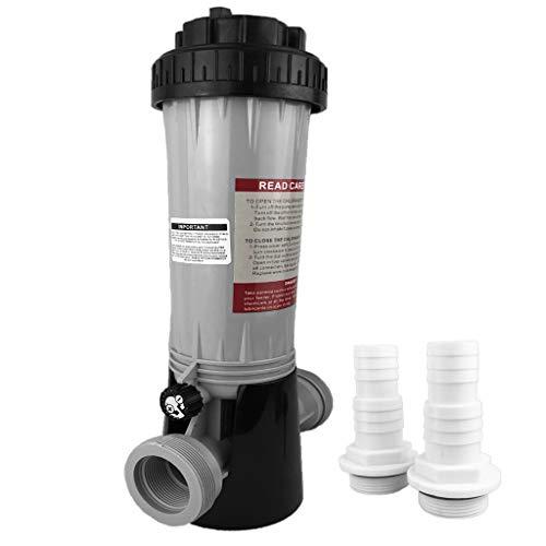 well2wellness® Chlordosierer Chlor Dosierschleuse für insgesamt 1,9kg (9x200g) Chlortabletten Plus 2 Schlauchtüllen 32-38mm mit O-Ring