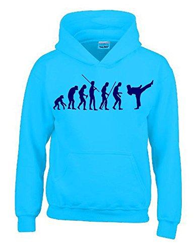 Coole-Fun-T-Shirts Karate Evolution Kinder Sweatshirt mit Kapuze Hoodie Sky-Navy, Gr.152cm