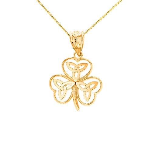 Fashion 14k Yellow Gold Irish Shamrock Pendant Necklace with Celtic Trinity Knot (20')