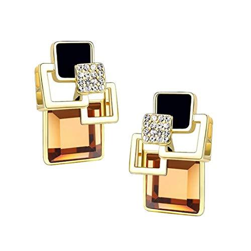 Minshao - Pendientes de tuerca, diseño geométrico cuadrado de cristal, joyería fina de oro para mujer