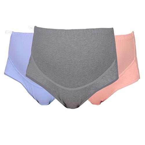 Zhiyuanan 3Pcs Pack Hohe Taillen Schwangere Frauen Unterwäsche Aus Baumwolle Einstellbare Unterstützung Mutterschaft Slip Unterhose Große Größe Breathable Komfort Schlüpfer L