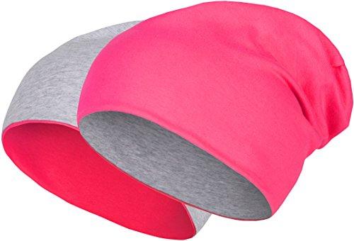 2 in 1 Wendemütze - Reversible Slouch Long Beanie Jersey Baumwolle elastisch Unisex Herren Damen Mütze Heather in 24 (8) (Light Grey/Pink)