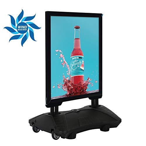 DISPLAY SALES Kundenstopper Plakatständer WindPro® DIN A1 SCHWARZ für Plakate mit 594 x 841 mm. Wetterfester Plakataufsteller mit Kunststofffuß und Rollen