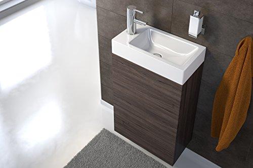 SAM Waschplatz Vega, Waschtisch 40 x 22 cm, Waschbecken aus Kunststoff, Trüffeleiche matt, Tür mit Push-Open-Funktion