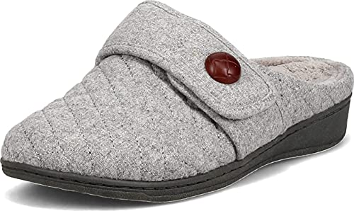 Vionic Women's Indulge Carlin Flannel Mule Slipper- Comfortable Spa House Slippers that include Three-Zone Comfort with Orthotic Insole Arch Support, Soft House Shoes for Ladies Light Grey 8 Medium US