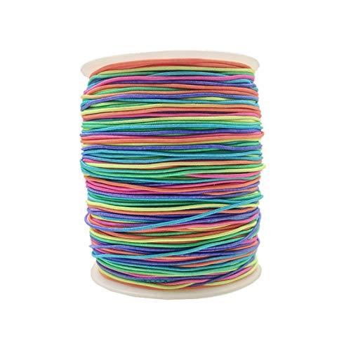 JZK 100 Metri arcobaleno filo elastico colorato 1 mm per braccialetti fai da te collane, cordino elastico per creazione gioielli per bambini, mascherine, treccia di capelli