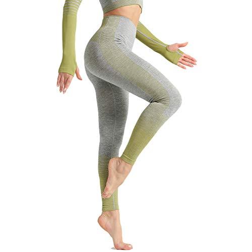 Yying Mujer Leggings Deportivos Gradiente Rayas Skinny Leggings de Yoga Alta Cintura Elásticos Pantalones de Fitness Secado Rápido Push Up Mallas Leggigngs