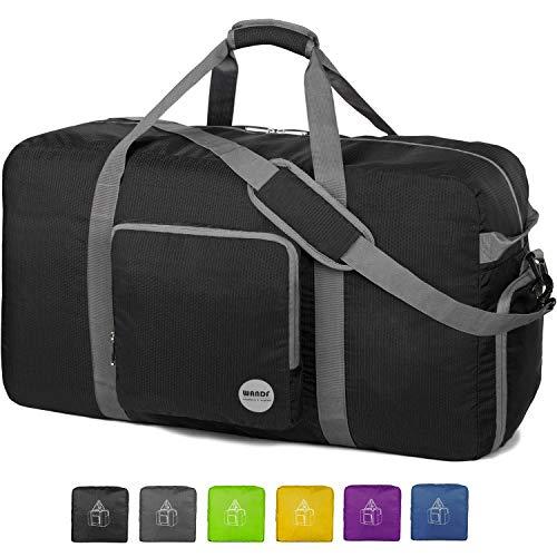 WANDF 36' Foldable Duffle Bag 120L for Travel Gym Sports Lightweight Luggage Duffel 36 inches (120 Liter), Black 36'