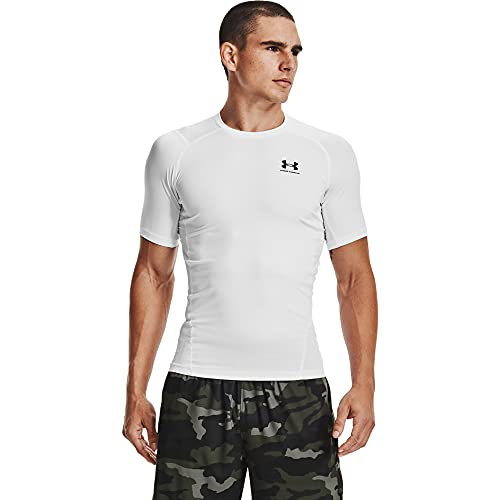 Under Armour UA HG Armour Comp SS, Maglietta sportiva a maniche corte, Uomo, Bianco, L