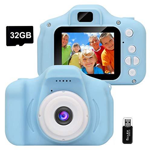 GlobalCrown Kinder Kamera,Mini wiederaufladbare Kinder Digitalkamera Stoßfeste Video Camcorder Geschenke für 3-8 Jahre Jungen Mädchen,8MP HD Video 2 Zoll Bildschirm für Kinder (32 GB Karte enthalten)