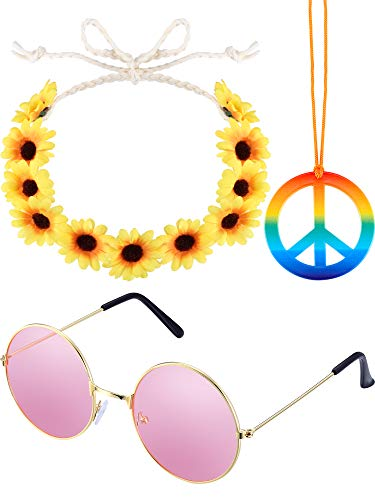 3 Pieces Hippie Costume Set Includes 1 Piece Rainbow Peace Sign Necklace, 1 Piece Flower Crown Headband and 1 Pair of Hippie Sunglasses