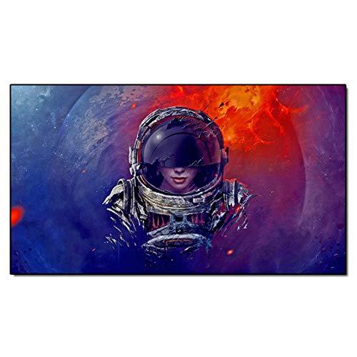 Mxibun Decoración Para El Hogar Lienzo Pintura Arte De Pared Espacio Femenino Astronauta Figura Carteles Decoración Para Sala De Estar Cuadros De Pared-24X44In Sin Marco