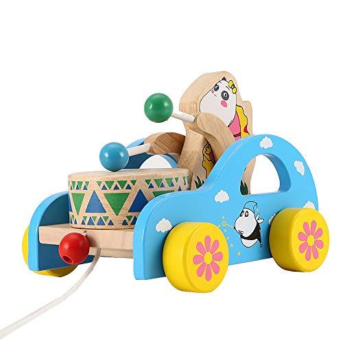 Los animales tiran el juguete, juguete de madera del tirón de los niños del coche de juguete de la fricción, para los niños caseros del juego(Cartoon bear)