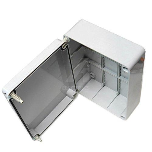 Abzweigdose, 300 x 220 x 120 mm Gehäuse, Schutzart IP56, wetterfest, flexibler PVC-outdoor mit Scharnier und Schrauben