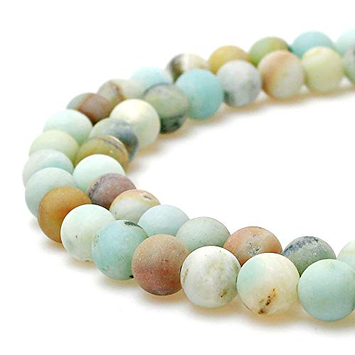 JARTC Natural Matte Amazonite Round Loose Beads for Jewelry Making DIY Bracelet Necklace (8mm)