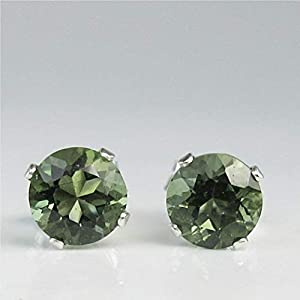 Authenticated Moldavite Faceted Sterling Silver Stud Earrings