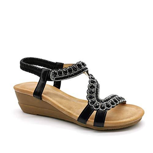 Angkorly - Damen Schuhe Sandalen Sandalen - orientalisch - Böhmen - romantisch - elastisch - Strass Diamant - Perle Keilabsatz 5.5 cm - Schwarz RB-31 T 37