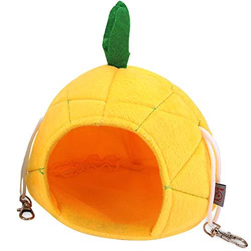 Cama cálida de invierno Hamaca de Piña para pequeños animales jugando suave erizo cama durmiendo linda hamster hamaca para pájaros para colgar en casa de gerbo, cobaya, cerdo(amarillo)