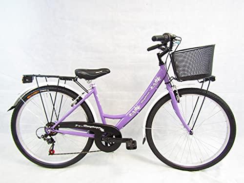 bicicletta donna bici da passeggio city bike 26'' cambio 6 velocita' Daytona (viola)