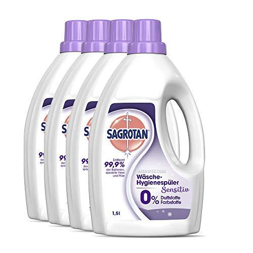 Sagrotan Wäsche-Hygienespüler Sensitiv 0% – Desinfektionsspüler für hygienisch saubere und frische Wäsche, ohne Farb- und Duftstoffe – 4 x 1,5 l Reiniger im praktischen Vorteilspack
