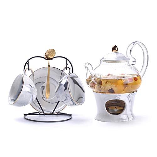 Marbling Porcelain Tea Set Ceramic Tea Cup Pot with Candler Strainer Floral Teapot Set Cafe Mug Teaware Coffee Cup Teacup Tea Pot TNSYGSB