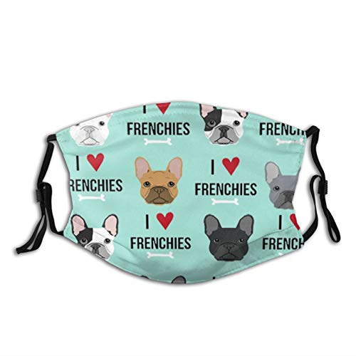 Frenchie Dog Balaclava Bandana Neck Gaiter Scarf with 2 Filter Breathable for Men Women Teenager