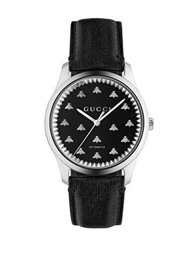 GUCCI Hombre Reloj G-Timeless Correa DE Cuero Negro DE LA API EN EL CUADRANTE YA126286