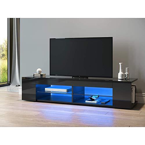 SONNI TV Schrank TV Lowboard LED Schwarz,12-LED-Farben,Glasböden,Fehrnser Tisch 135 cm breit