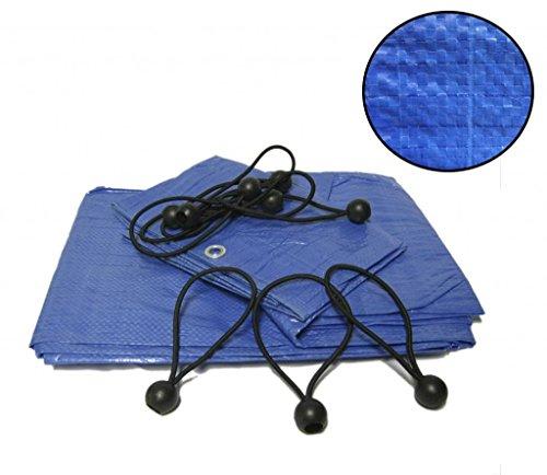 Yuzet - Telone impermeabile per coperture completo di 30 sfere con elastici per il fissaggio, blu