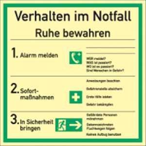 Schild Verhalten im Notfall HIGHLIGHT PVC 18x18cm
