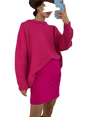 Nokiwiqis Suéter de manga larga de punto de gofre para mujer, cuello redondo, color sólido, jersey de gran tamaño, Rosa Roja, XL