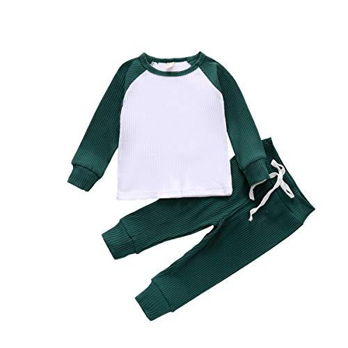 Chaochao - Conjunto de ropa de noche para bebé y niña, manga larga y pantalones largos de 0 a 4 años verde oscuro 2-3 Años