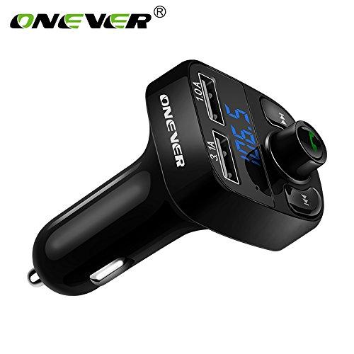 ONEVER HY82 Kit de Voiture MP3 Bluetooth FM Transmetteur Modulator Support Mains Libres Appel DC 12-24 avec 4.1A USB Double Slot TF avec Voltm¨¨tre