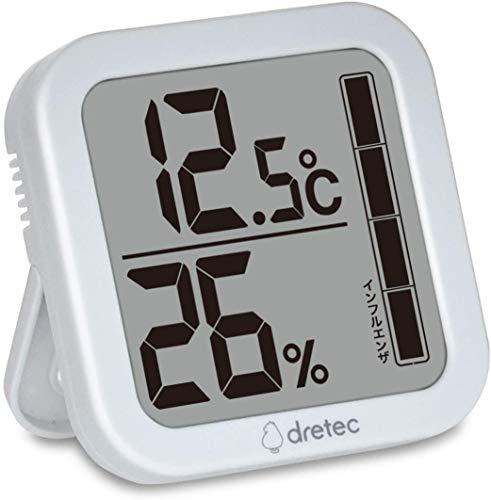 dretec(ドリテック) 温湿度計 温度 湿度 デジタル 大画面 おしゃれ 壁掛け スタンド O-402WTDI ホワイト