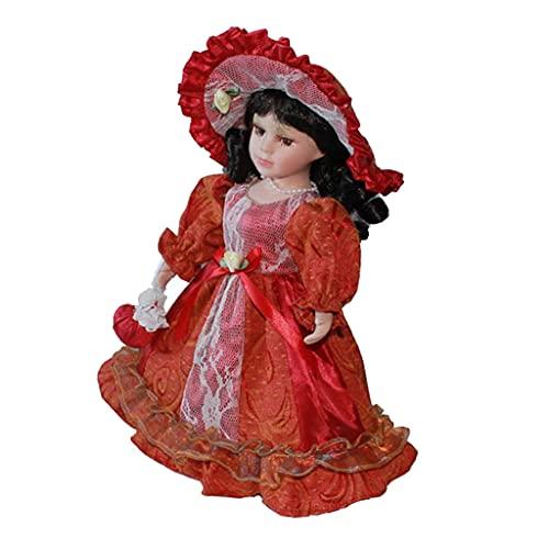 sharprepublic Muñecas de Porcelana con Bolso - 30 Cm - Rojo