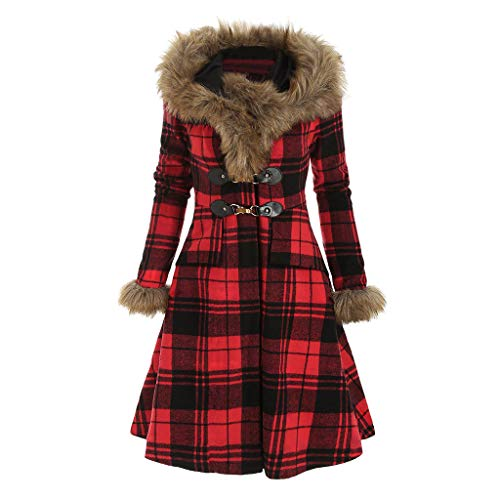 Lulupi Damen Winter Mantel Kleider Retro Vintage Mantelkleid Trenchcoat mit Kapuze Warm Parka Lange Pelzkragen Winterjacke Coats