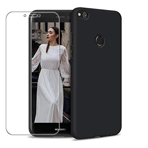 Funda Huawei P8 Lite 2017 + Protector de Pantalla de Vidrio Templado, Carcasa Ultra Fino Suave Flexible Silicona Colores del Caramelo Protectora Caso Anti-rasguños Back Case - Negro