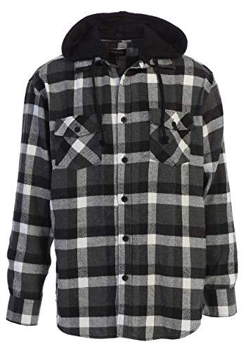 Gioberti Men's Removable Hoodie Plaid Checkered Flannel Shirt, Black/Gray/White Highlight, X-Large