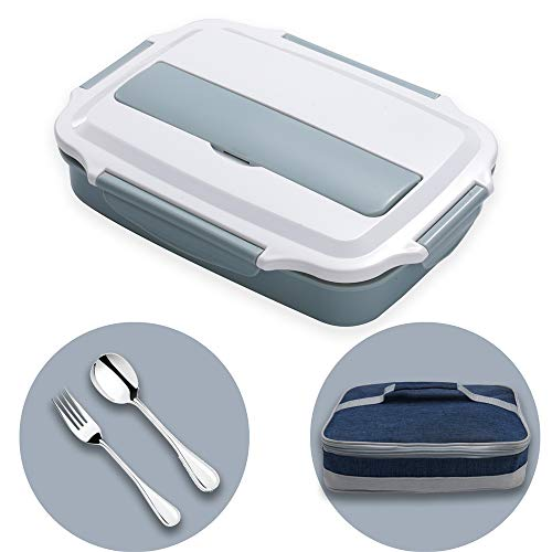 HUAFA Scatola Pranzo, Lunch Box con Posate e Borsa per Il Pranzo (Blu)