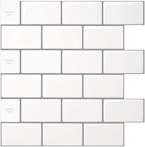 Art3d - Azulejos del subterráneo de láminas de vinilo adhesivo, color blanco brillante con lechada gris, 30 x 30 cm, despegar y pegar, 10 unidades